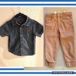 7 For All Mankind Toddler Denim Shirt and Joggers
